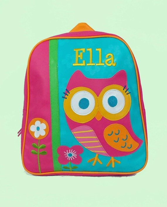 Personalized Stephen Joseph GoGo Backpack OWL Themed Bag In Teal and Hot Pink-Monogramming Included