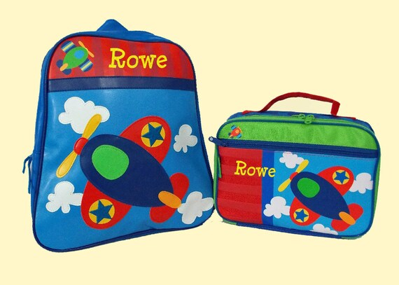 Child's Personalized Stephen Joseph GoGo AIRPLANE Themed Backpack and Lunchbox School Set-Monogramming Included In Price