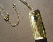 1930's Czech Glass Rectangular Pendant On 14kt Gold Filled Chain