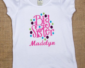 Personalized Big SISTER dots, oneise or shirt
