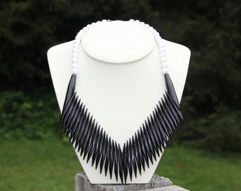 Vintage 1980's Black and White Necklace and Earrings Set