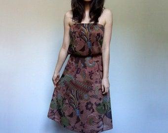 Brown Batik Dress Vintage 70s Knee Length Spaghetti Strap Summer Sundress - Extra Small XS