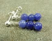 Sapphire Gemstone Post Earrings Sterling Silver September Birthstone LUXE Line