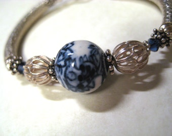 LOVELY UNUSUAL Blue and White Porcelain Sterling Bangle Wire Wrapped Bracelet Made with Noodle Beads