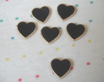 Black Velvet Cabochon Heart Buttons, Gold Border, Sew Through Buttons, 18 mm (6)