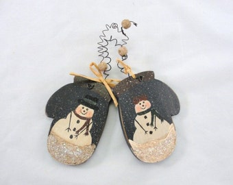 Snowman on  mittens ornament wooden Christmas Winter