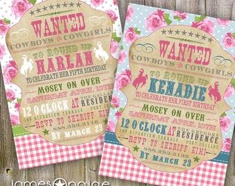 Girly Cowboy Themed Shabby Chic Western Birthday Invitation (4x6 or 5x7) Digital Design