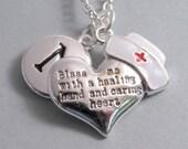 Nurse's Prayer Heart Bless Me Nurse Cap Charm Jewelry Supplies