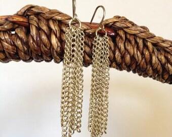 Gold Dangling Chain Earrings