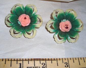 Pierced Metal Tiebacks ....Pink Rose......Antique Curtain Tiebacks.......CC1