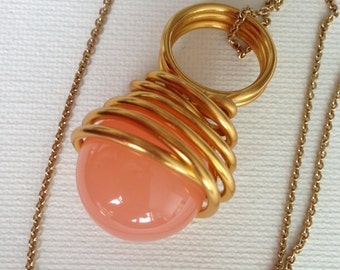 Gold Pop with dyed Jade Necklace