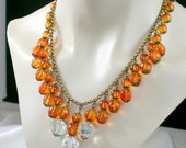 ON SALE Fireside Glow Festoon Necklace and Earrings in Amber and Topaz