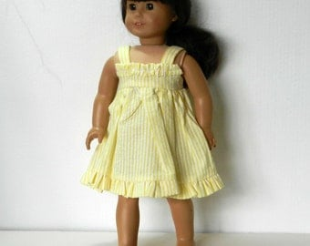 DC Yellow and White Stripe Seersucker Sundress - 18 Inch Doll Clothes fits American Girl