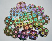 16 Prismatic MEDALLIONS- Prismatic tags, sparkling glittery package decorations, Holographic decorations Scalloped circles unique Holo art