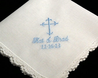 Cross Handkerchief with personalized  names and wedding date