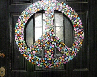 Extra Large  Wooden Polka Dotted Peace Sign