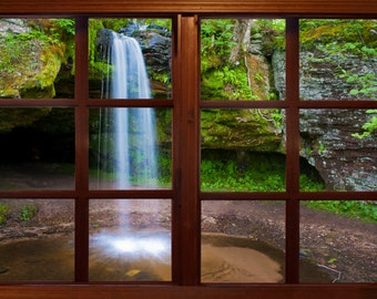 Wall mural window, self adhesive, Michigan upper penisula waterfall- window view-3 sizes available - free US shipping