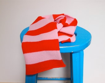 Red and Pink Stripe Child's Scarf  100% Soft Lambswool