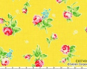FLOWER SUGAR 2013 Japanese, Lecien, Tossed Roses in Yellow, 1/2 yard