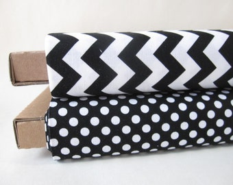 Black and White Small Dots and Small Chevrons Half Yard Fabric Bundle - Total 1 Yard - By Riley Blake Designs - 1/2 Yard Bundle