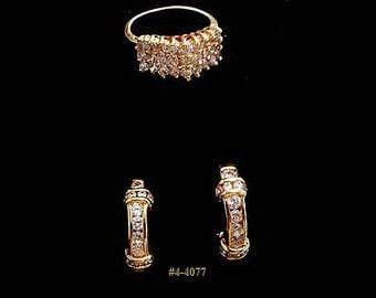 FREE SHIP Vintage Rhinestone Earrings and Ring (4-4077)