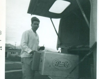 1957 Man Getting a Soda Pop Pepsi Cola Cooler in Back of Truck 1950s Vintage Black White Photo Photograph
