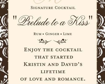 Personalized Wedding Signature Drink Sign  - Bar Sign -  customizable  Williamsburg