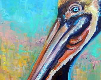 "Giclee print of ""Crazy Eye"" Pelican painting by Reddawn Designs"