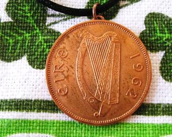 1962 Irish Coin Birth Year Necklace/Penny Ireland Necklace
