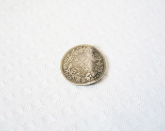 1874 British sixpence: Tiny, beautiful, delicate British Victorian silver sixpence from 1874