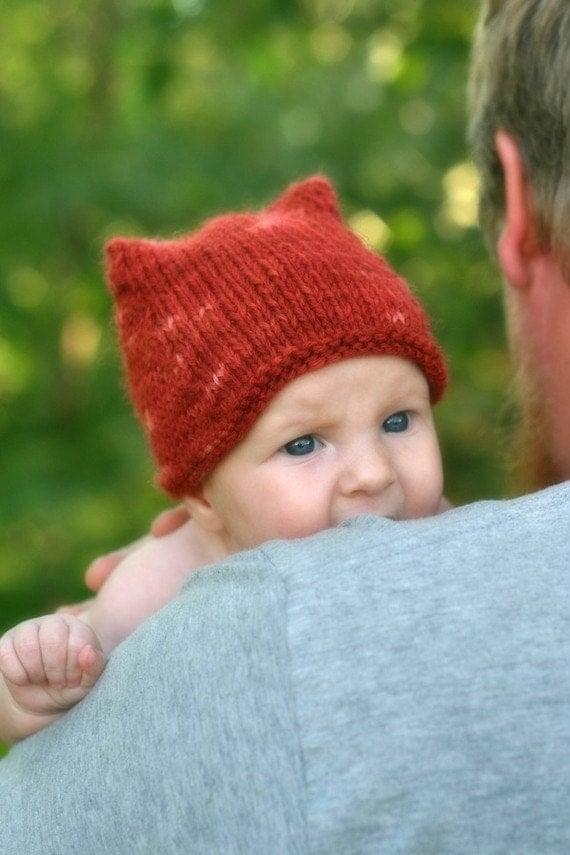 Knitting Pattern For Child s Fox Hat : Knitting Pattern Fox Hat Baby Toddler Child Knit Hat