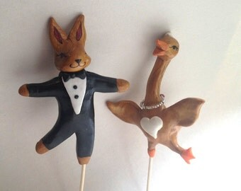 Dancing Goose and Dancing Rabbit Wedding Cake Topper. Woodland Animal Wedding Cake Topper