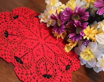 Pretty Red Crochet  Ladybug doily
