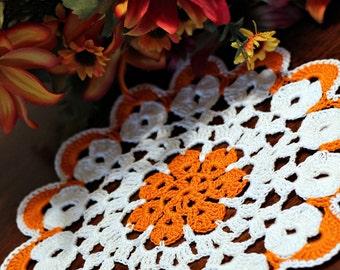 White and orange mini doily