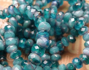 Teal Swirl SM Faceted Glass Beads 3x5mm - 10pc