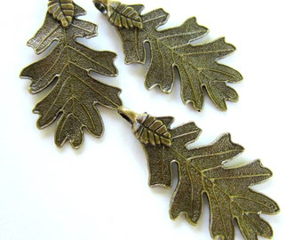 4 Leaf pendants antique bronze leaf charms  jewelry supplies  48mm x 26mm  L481 (CC3)