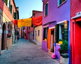 Italy Photograph Burano Print Hanging Laundry Photo Italian Colors Colorful Houses Blue Red  ita90