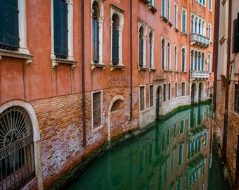 Venice Photograph Venice Canal Photo Italy Photograph Venetian Architecture Gondola Red  ven58