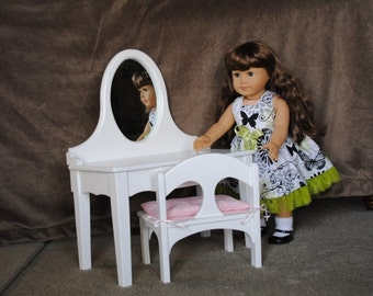 """Vanity/Dressing Table for 18"""" Doll such as the American Girl - Ready to Ship"""