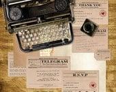vintage telegram printable wedding stationery set invitation suite 1920s 1930s 1940s invitation, reception or ceremony package, diy invite