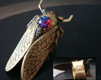 Ring, CICADA Set with Dragons Breath Mexican Opal Or Emerald, Finger shield, Large Comfy Ring Base Shown in Pictures, Metal Bonded Not Glued