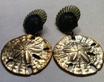 SEA Shells and SAND Dollars Dangly Post Earrings