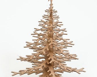 Cardboard Snowflake Tree - Table Top Decoration - Brown