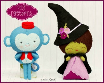 PDF. The wicked witch of the west and the flying monkey. Oz pattern. Plush Doll Pattern, Softie Pattern, Soft felt Toy Pattern.