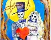 Halloween Wedding gift, Day of the Dead, Original painting, 8 x 10 watercolor, skeleton bride, skeleton wedding, October Wedding gift