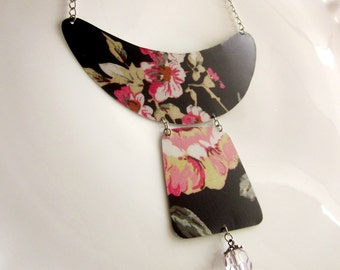 Recycled Rose Tin Bib Necklace Black Pink and Green