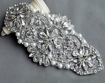 Rhinestone Applique Bridal Accessories Crystal Trim Rhinestone Beaded Applique Wedding Dress Sash Belt Headband Jewelry RA027