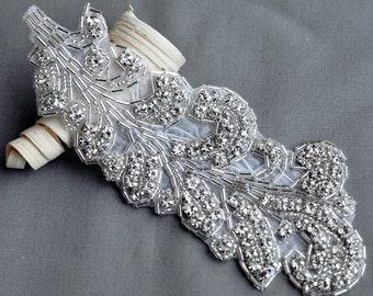 Rhinestone Applique Bridal Accessories Crystal Trim Rhinestone Beaded Applique Wedding Dress Sash Belt Headband Jewelry RA035