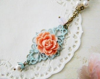 Bridesmaid Victorian style Filigree Rose Light Blue Patina Antiqued Bronze Necklace, wedding gifts, bridal jewelry, for wife, teenage prom