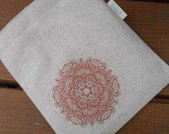 Reusable sandwich bag -  Unbleached cotton sandwich bag - Reuse sandwich bag - Mandala on natural unbleached cotton